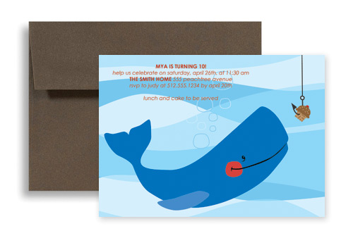 Fish Beach Swimming Microsoft Word Birthday Invitation 7x5 in