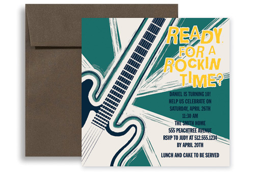Rock And Roll Music Microsoft Word Birthday Invitation 5x5 in