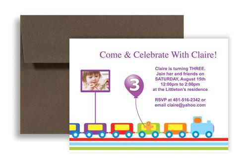 Running Train Balloon Microsoft Word Birthday Invitation 7x5 in