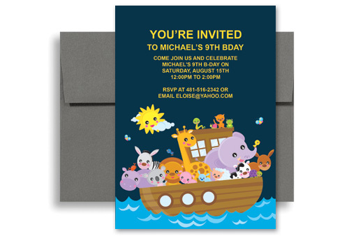 Kids Water Boat Ride Party Printable Birthday Invitation 5x7 in
