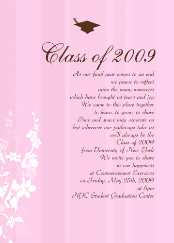 Free Sample High School Graduation Announcement Wording