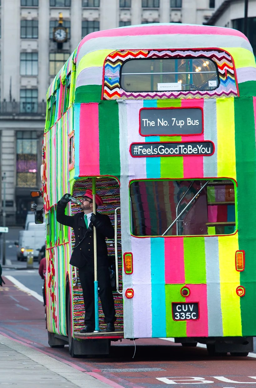 Boom 3d Knitted Double-decker Bus Takes To London Streets For 7up