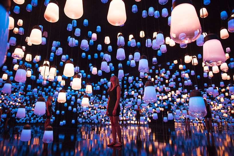 Fluorescent Lamp Teamlab Suspends Forest Of Resonating Lamps At Maison Et Objet