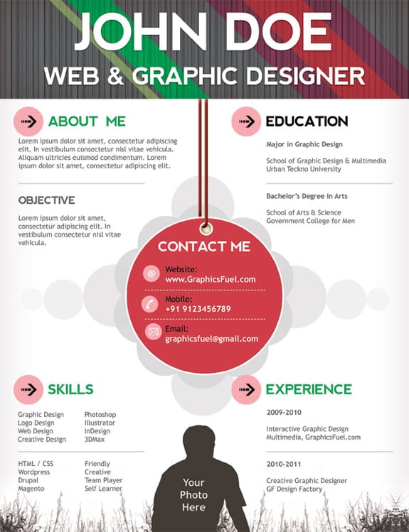 Download 35 Free Creative Resume Cv Templates Xdesigns 11 Psd One Page Resume Templates Designbump