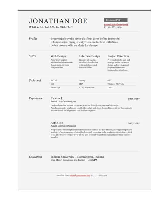 One Page Resume Examples. One Page Resume Template Free Resume ...