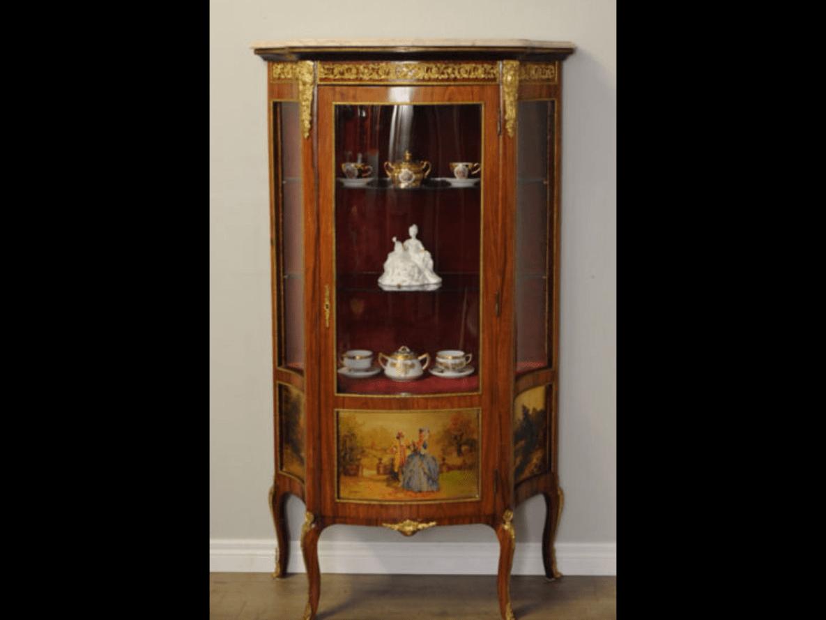 SaveEnlarge · Antique French Style Mahogany Curved Curio Cabinet With - Antique French Curio Cabinet - Nagpurentrepreneurs