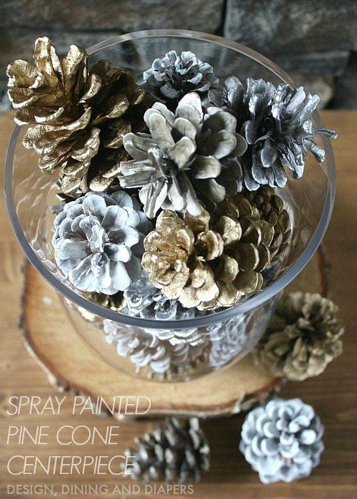 Easy Spray Painted Pine Cone Centerpiece