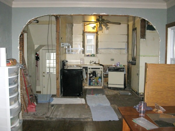 Wall removed to create an open concept kitchen