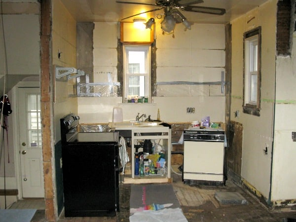 Kitchen gutted for remodel