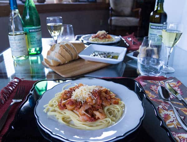 Gourmet Dinner ~shrimp bruschetta pasta