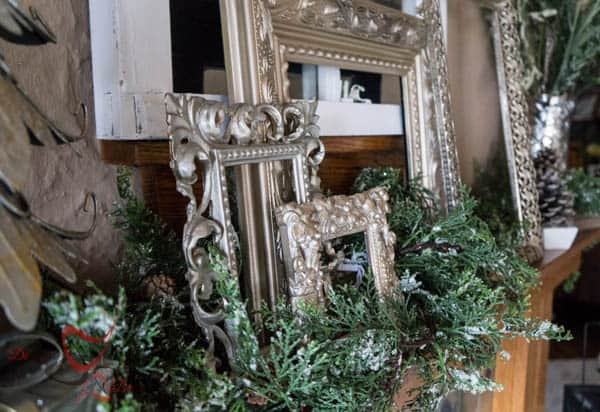 Using everyday items to decorate the Christmas Mantel 2014-