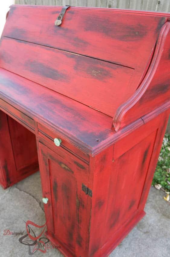 Vintage desk makeover designed decor for How to paint furniture distressed