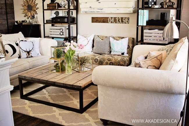 rustic-living-room-trellis-rug-industrial-shelves