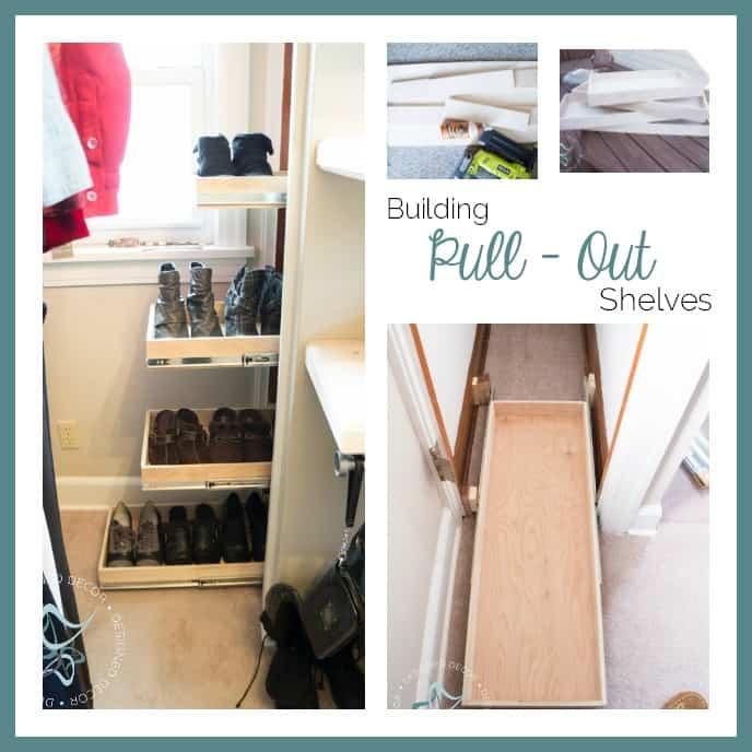 building pullout shelves- shoe closet