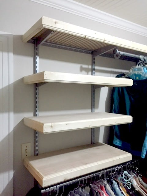 wood cap shelves- before stain