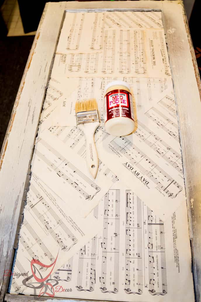 Repurposed Window-Wall Decor-Music Quote-Decoupage-8