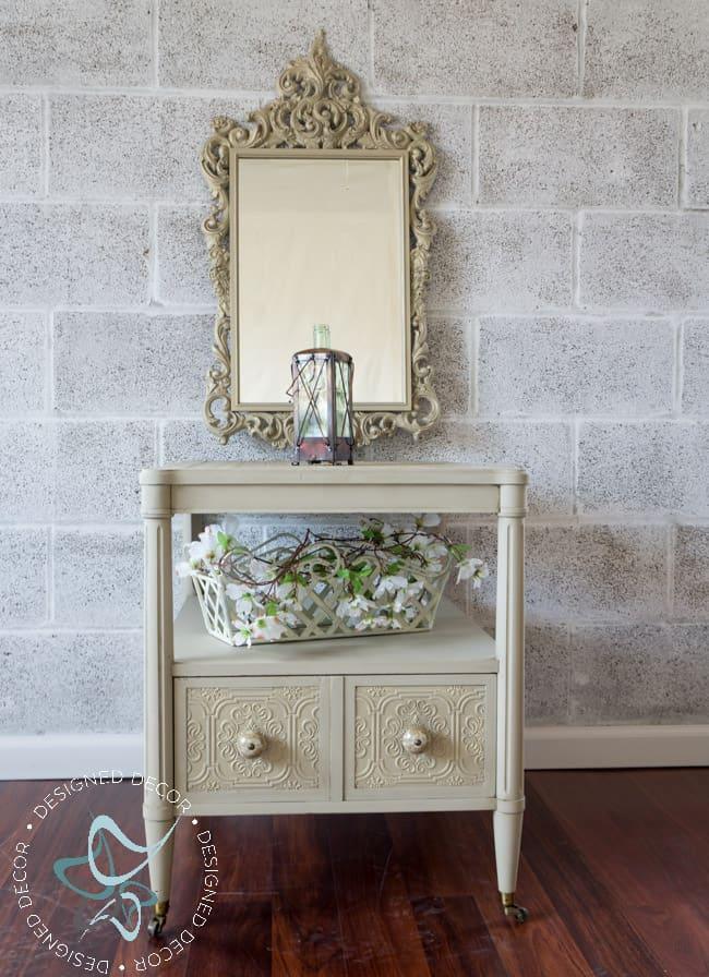 Wallpaper Side Table-decoupage-organza-3