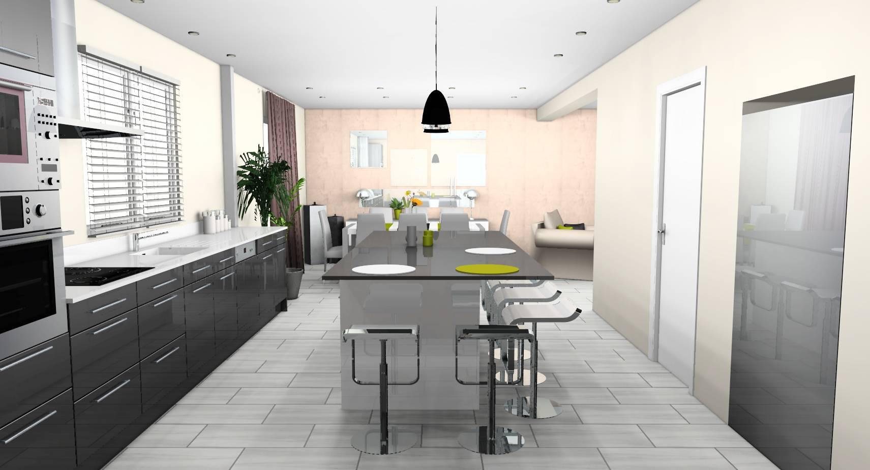 Décoration D\'intérieur Cuisine Ouverte | Decoration Cuisine Avec Bar ...
