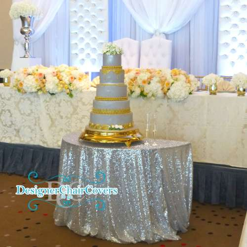 sequin cake table