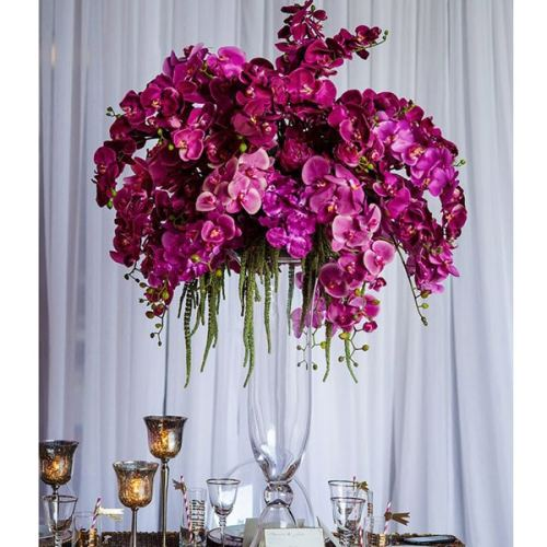 bell vase wedding orchid centrepiece