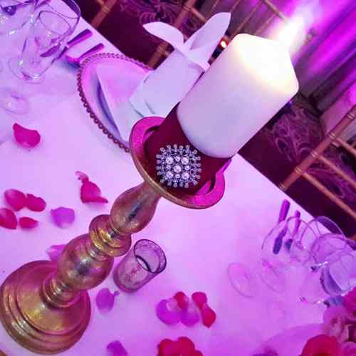 gold candle stands wedding