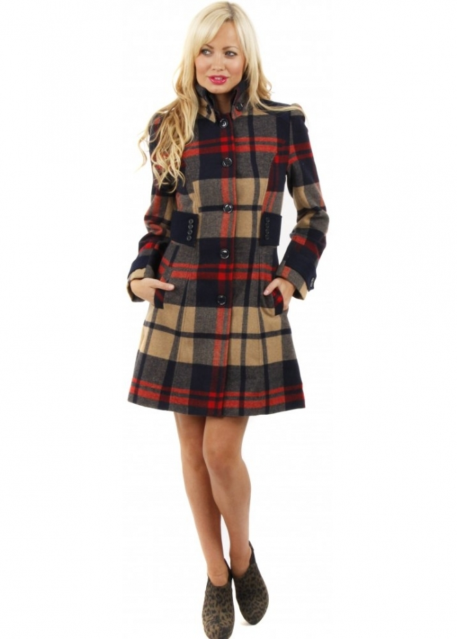 Lustre Designer Tartan Coat | Plaid Print Coat | Red Tartan Short Coat