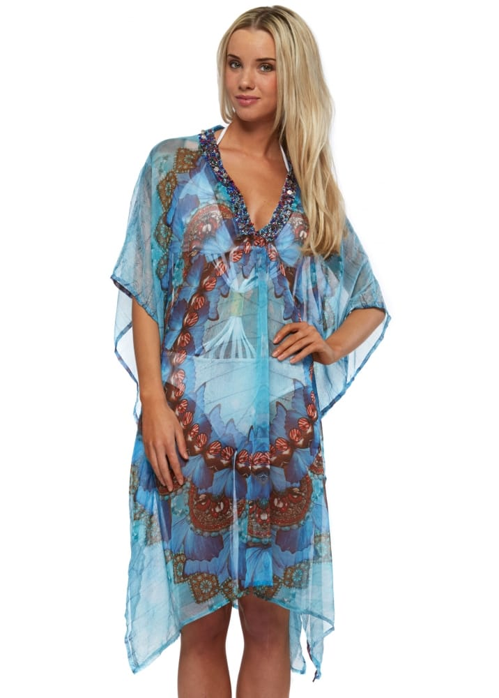 Voodoo Paris Antica Sartoria Blue Beaded Kaftan Top - Antica Sartoria