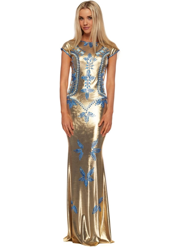Voodoo Paris Holt Shefa Dress - Gold Evening Gown With Blue Paint Accents