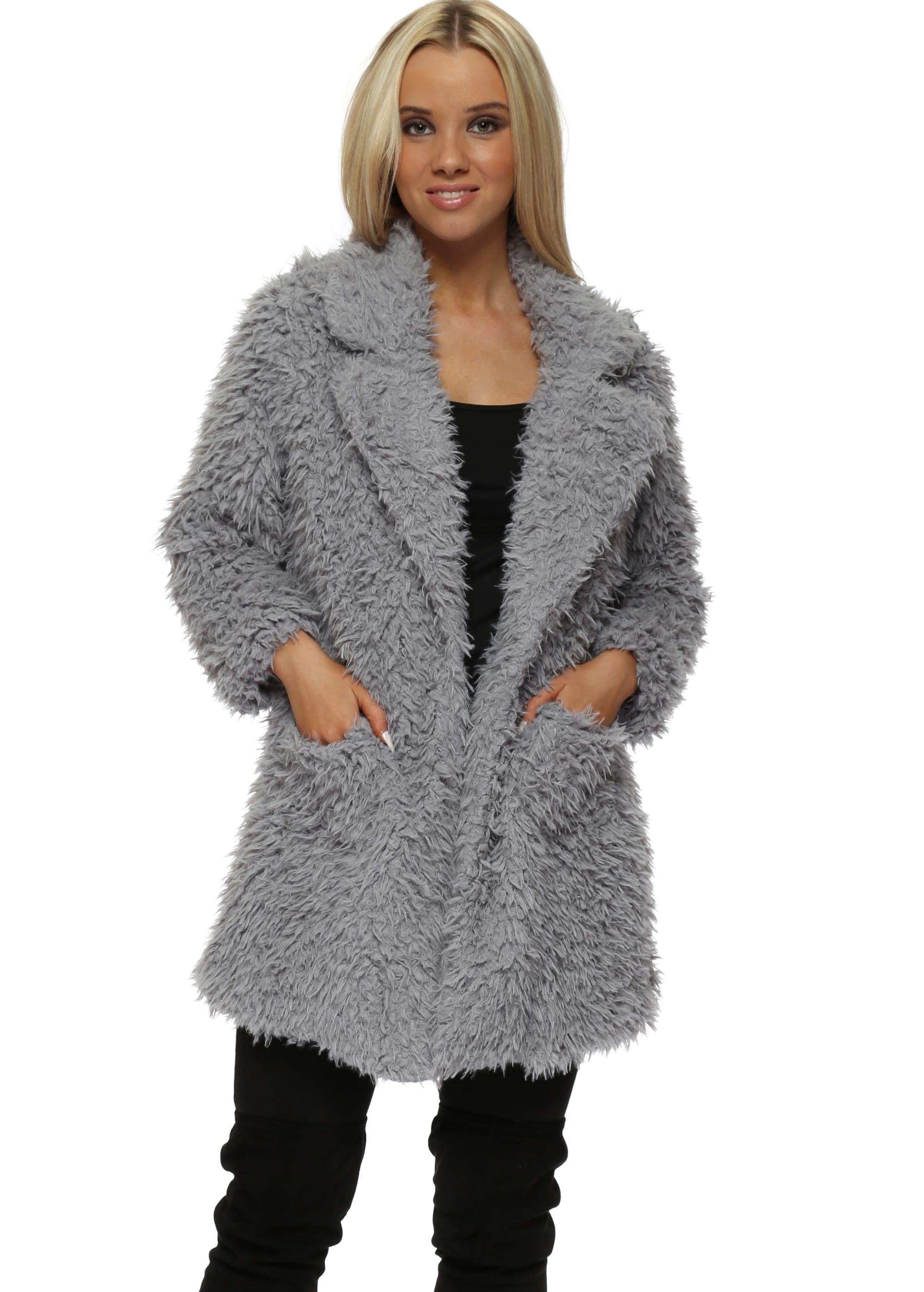 Voodoo Paris Grey Shaggy Faux Fur Coat By Lucy Wang