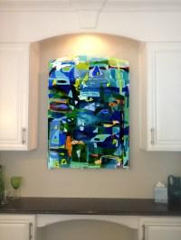 Colorful Fused Glass Wall Art Panel   Designer Glass Mosaics