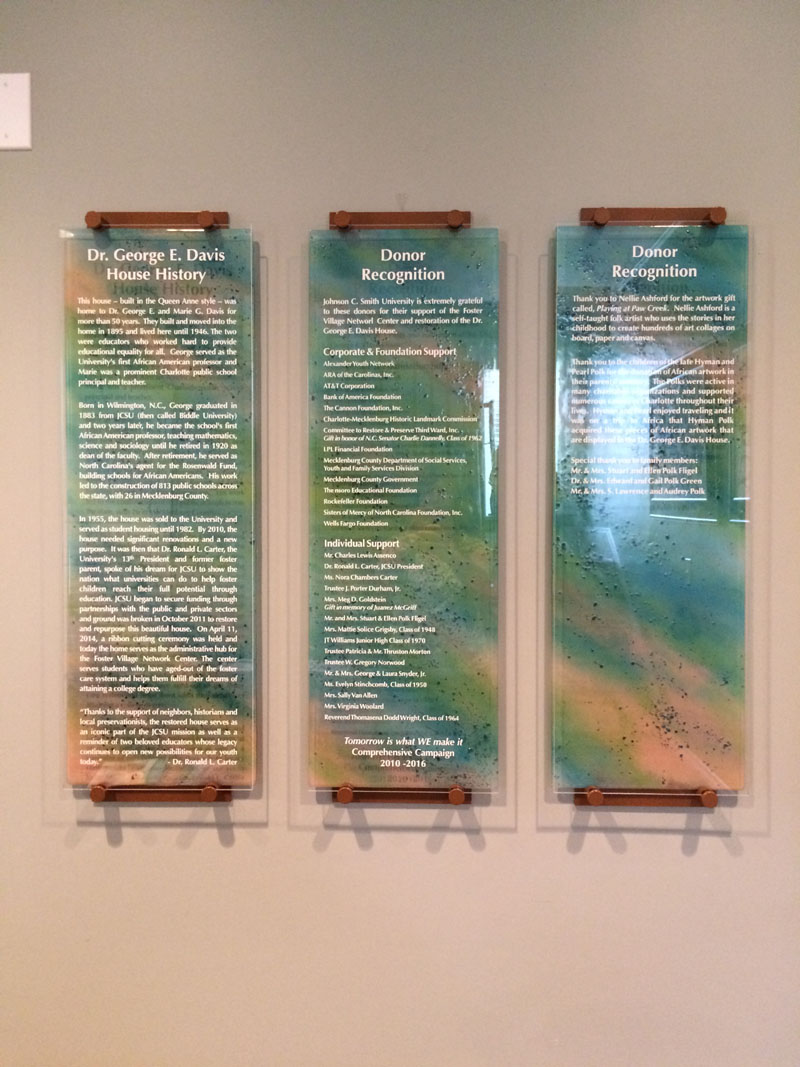 Contemporary Fireplace Glass Donor Recognition Panels | Designer Glass Mosaics