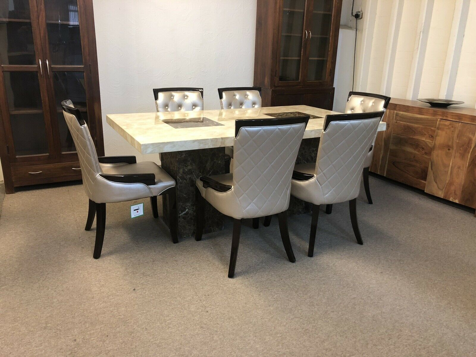 Dining Room Chairs Brisbane Brisbane Marble Table 180cm 6x Gold Straightback Chairs