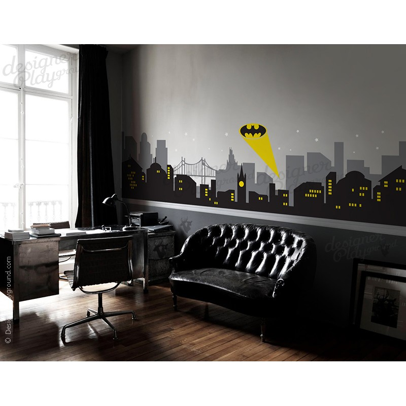 Animal Removable Wallpaper Gotham City Night Scene With Batman Light Wall Decal Large Set
