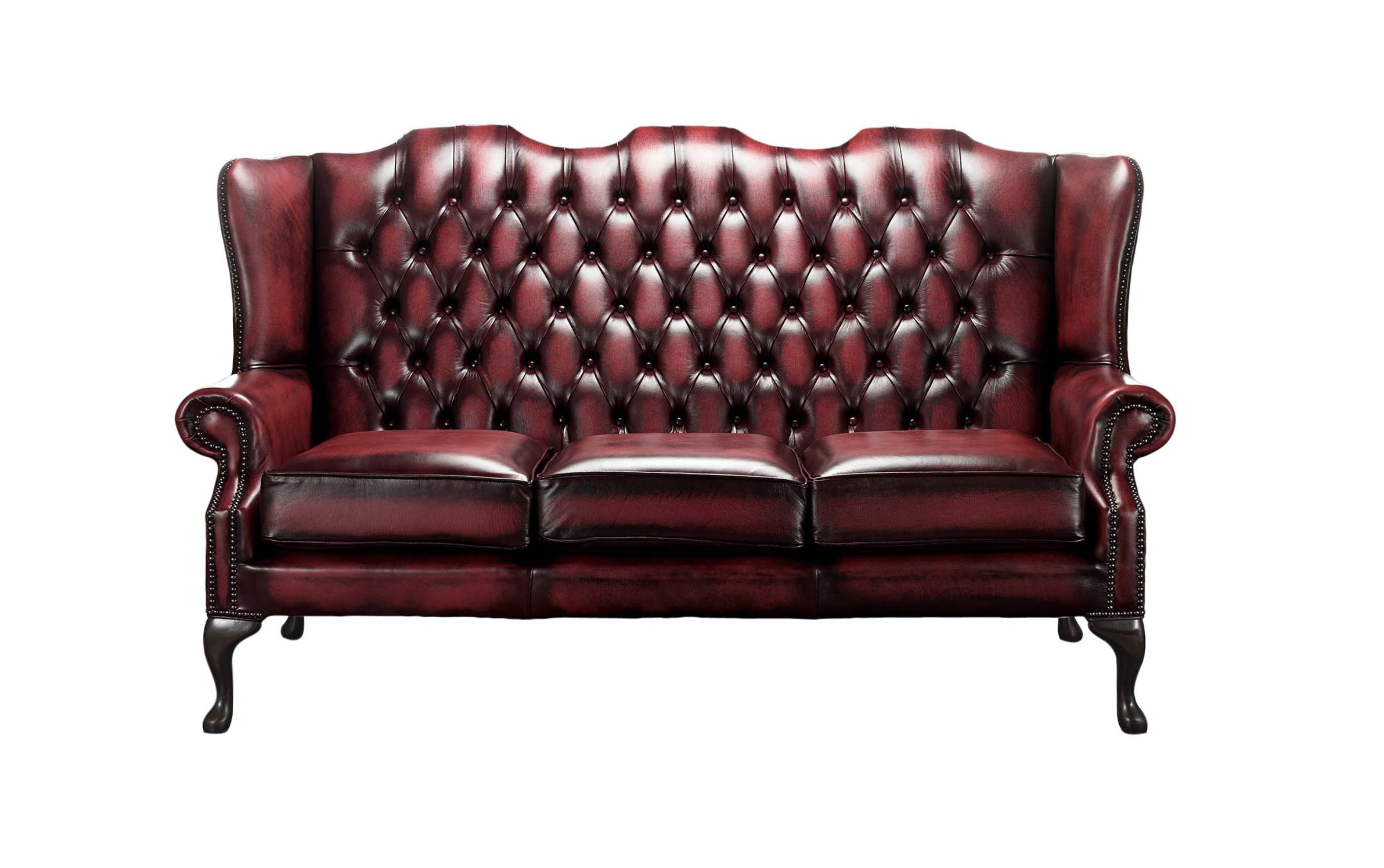 High Back Antique Sofa Chesterfield 3 Seater Mallory Queen Anne High Back Wing Sofa Chair Antique Oxblood Leather