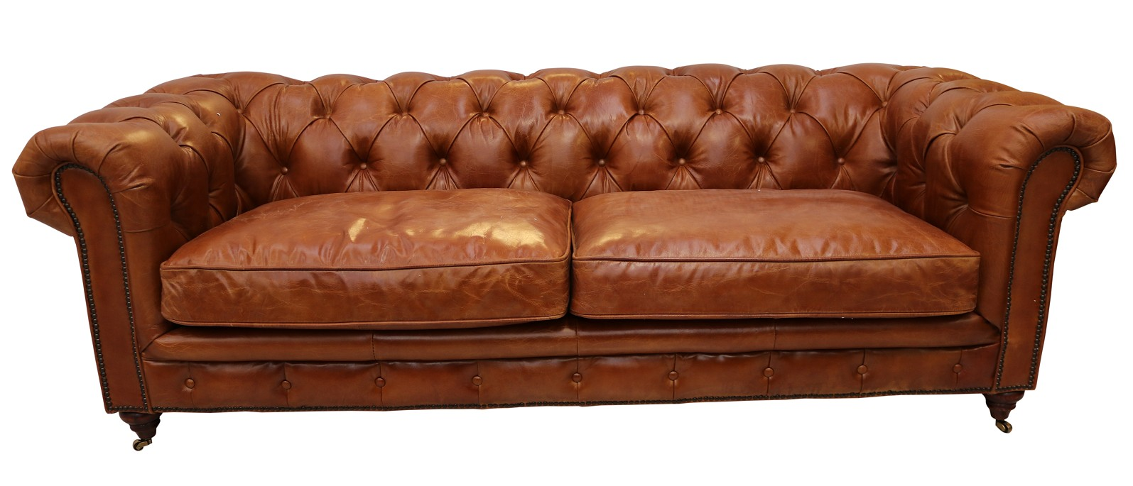 Bettsofa Vintage Vintage Distressed Tan Leather Chesterfield 3 Seater Sofa