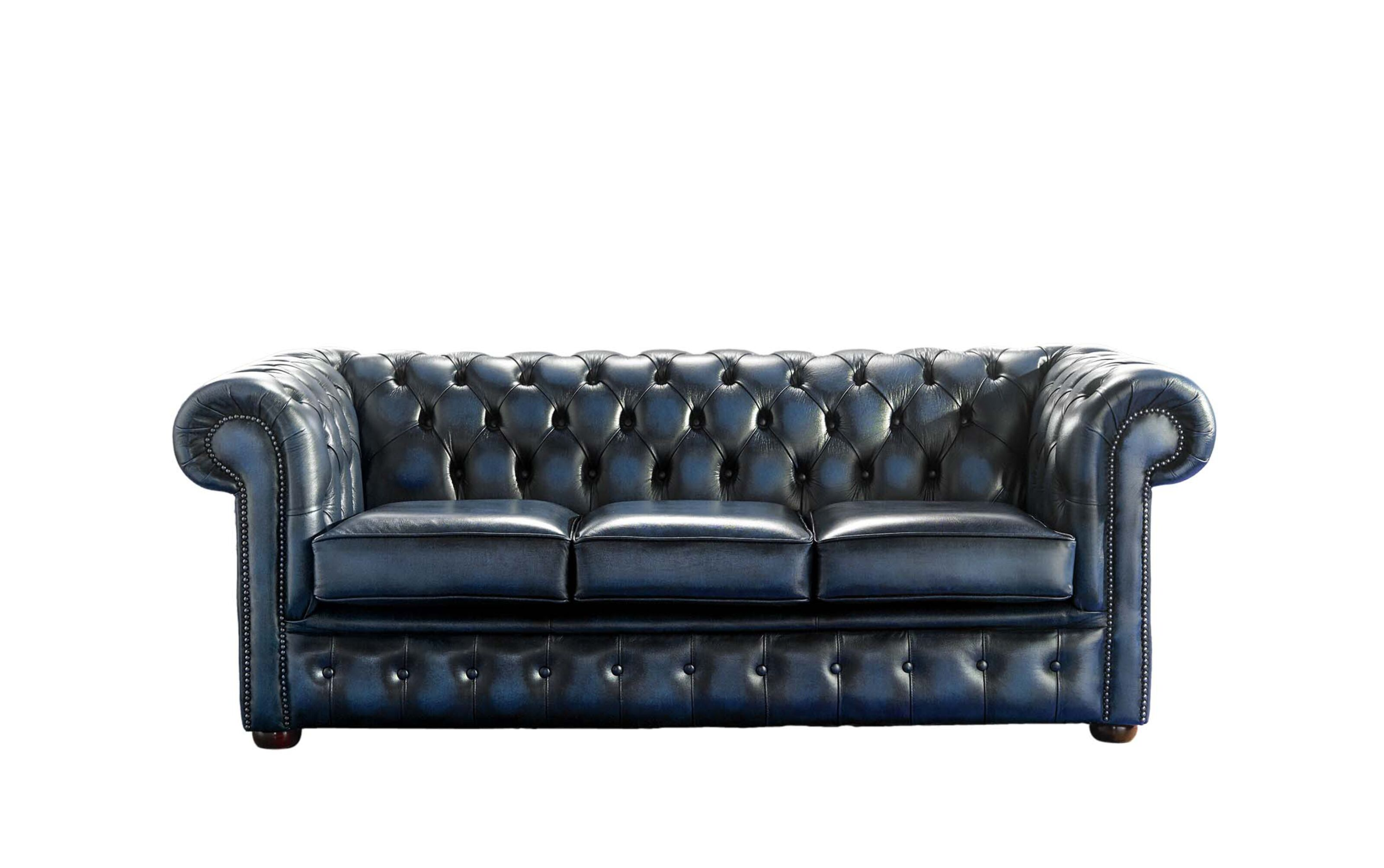 Bettsofa Vintage Chesterfield 3 Seater Blue Leather Antique Sofa Sofa Offers