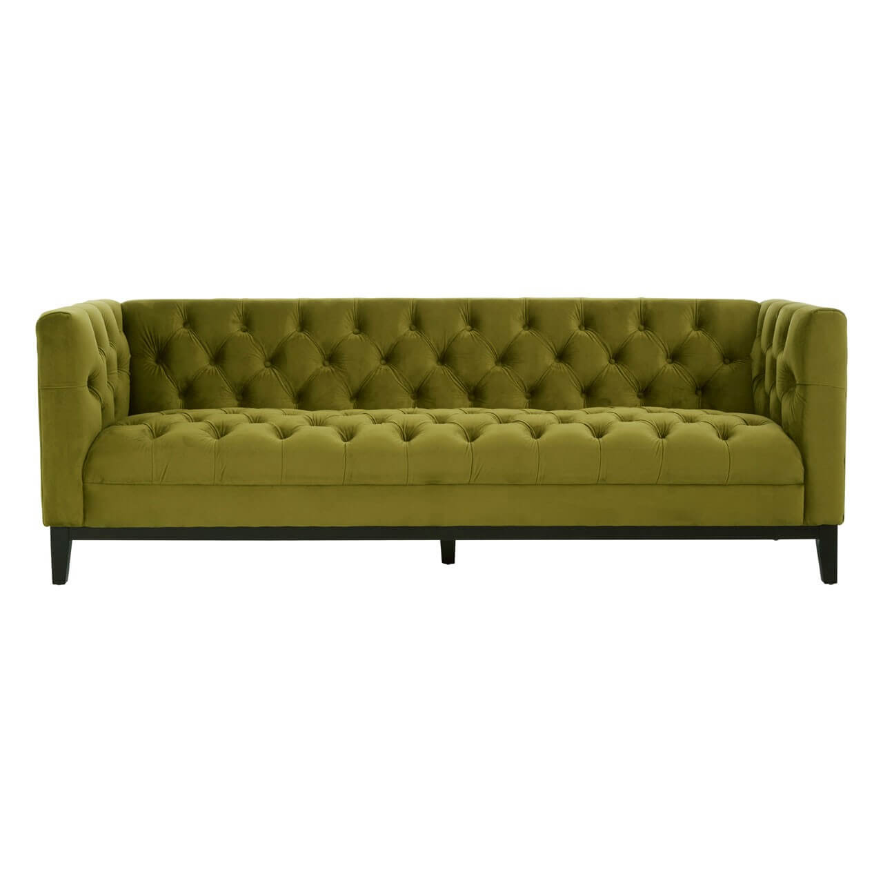 Designer Sofas Marietta 3 Seater Viola Moss Green Fabric Sofa With Rubberwood Feet | Designer Sofas 4u
