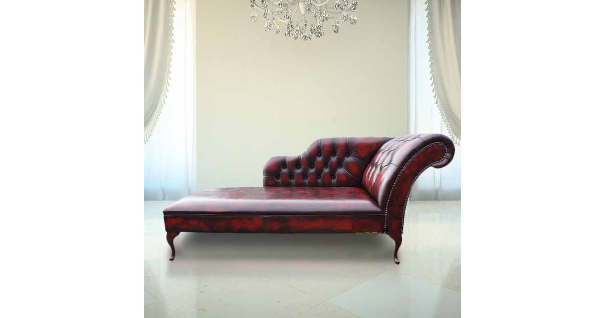 High Back High Arm Sofa Oxblood Leather Chesterfield Chaise Lounge Day Bed
