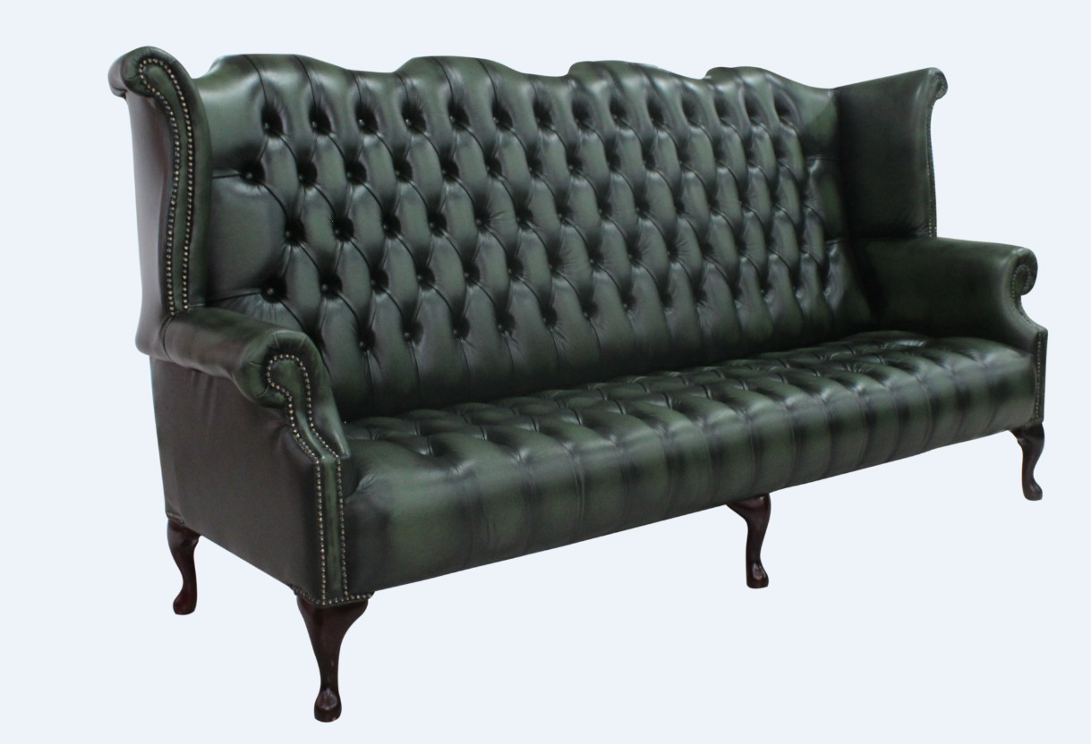 High Back Antique Sofa Chesterfield 4 Seater Queen Anne High Back Wing Sofa Buttoned Seat