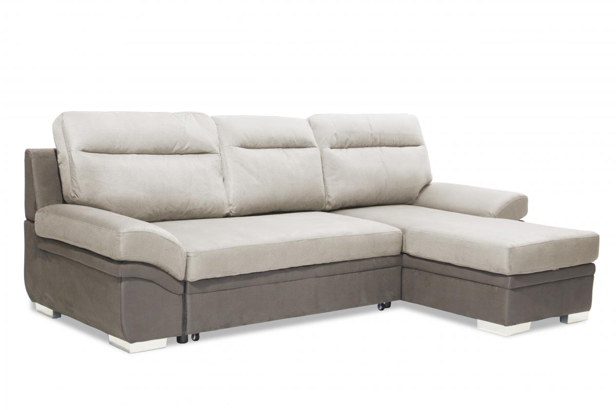 Rosa 2 Seater Grey Fabric Sofa With Chaise And Dark Grey Fabric Base Designer Sofas4u