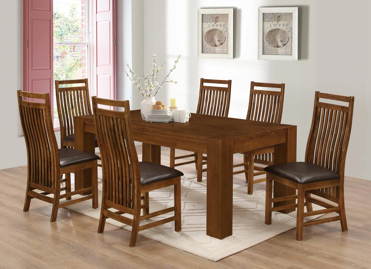 Dining Room Furniture Rustic Yaxley Dining Set With 6 Chairs Rustic Oak
