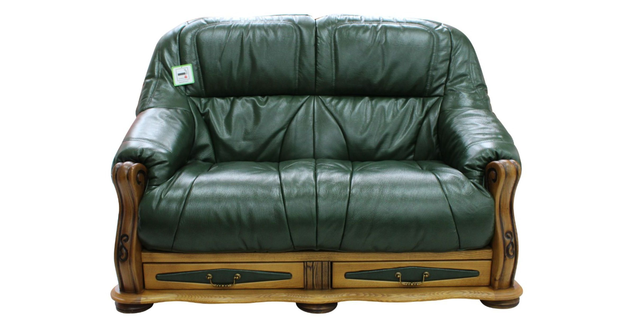 Chaise Victoria Belgium Storage Drawer Genuine Italian Leather 2 Seater