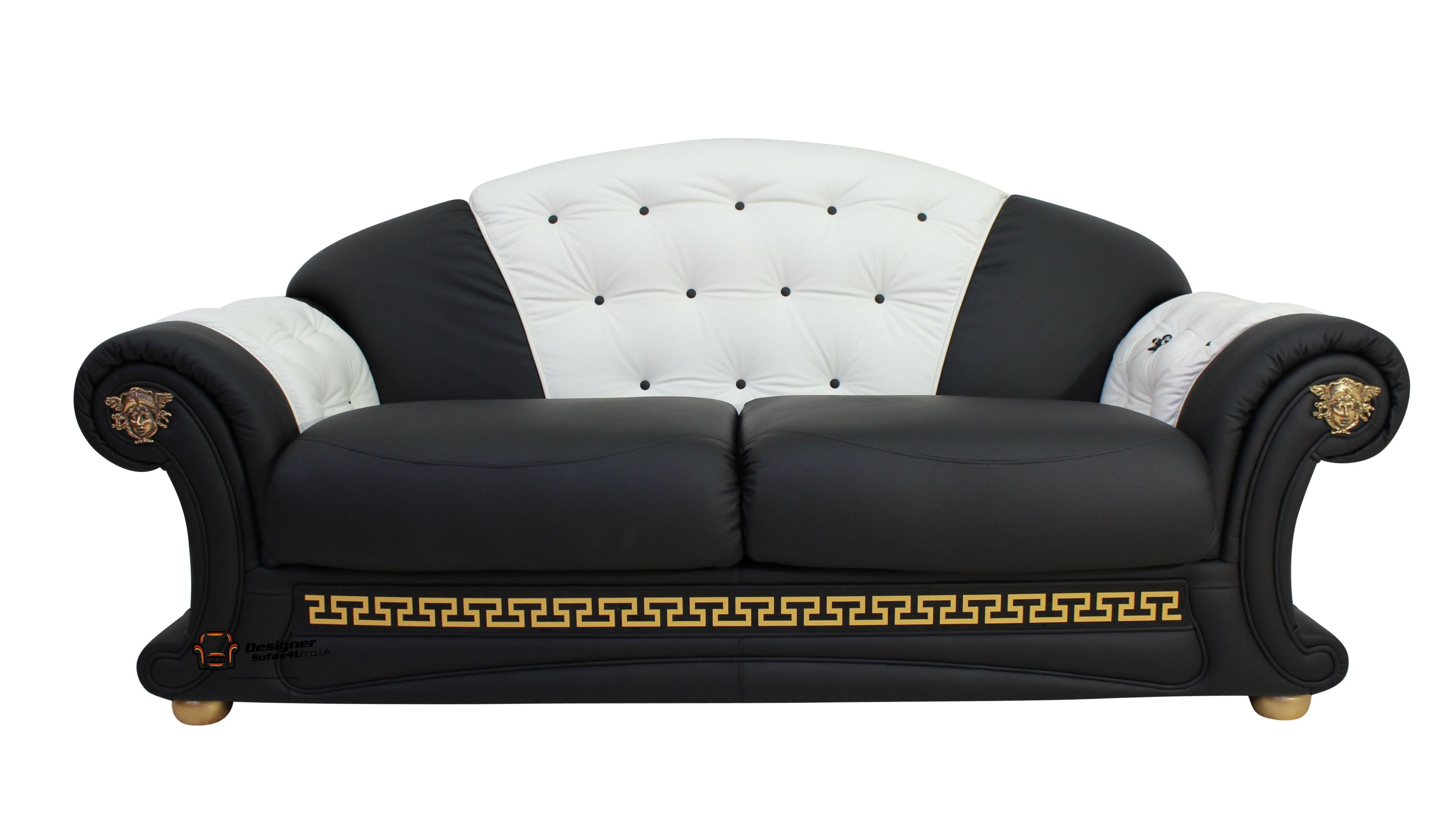 Versace 3 Seater Italian Black And White Leather Sofa Shop