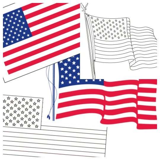 FREE Printable US Flags  American Flag color book pages