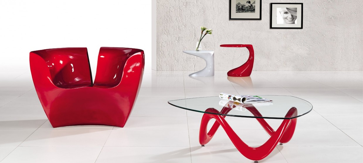 Repose Pied Salon Table Basse Design Rouge | Prix Bas Garantie