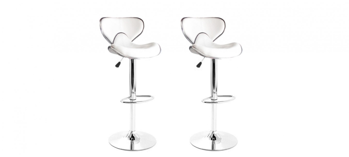 Lot De 2 Tabourets De Bar Blanc Prix Incroyables Tabouret Bar