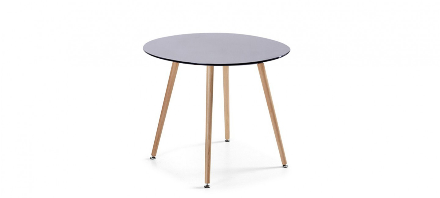 Table Scandinave Noire Table à Manger Ronde Design Noire 100cm Alta