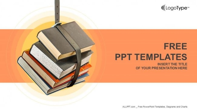 Free Educational Book Stack Powerpoint Template - DesignHooks