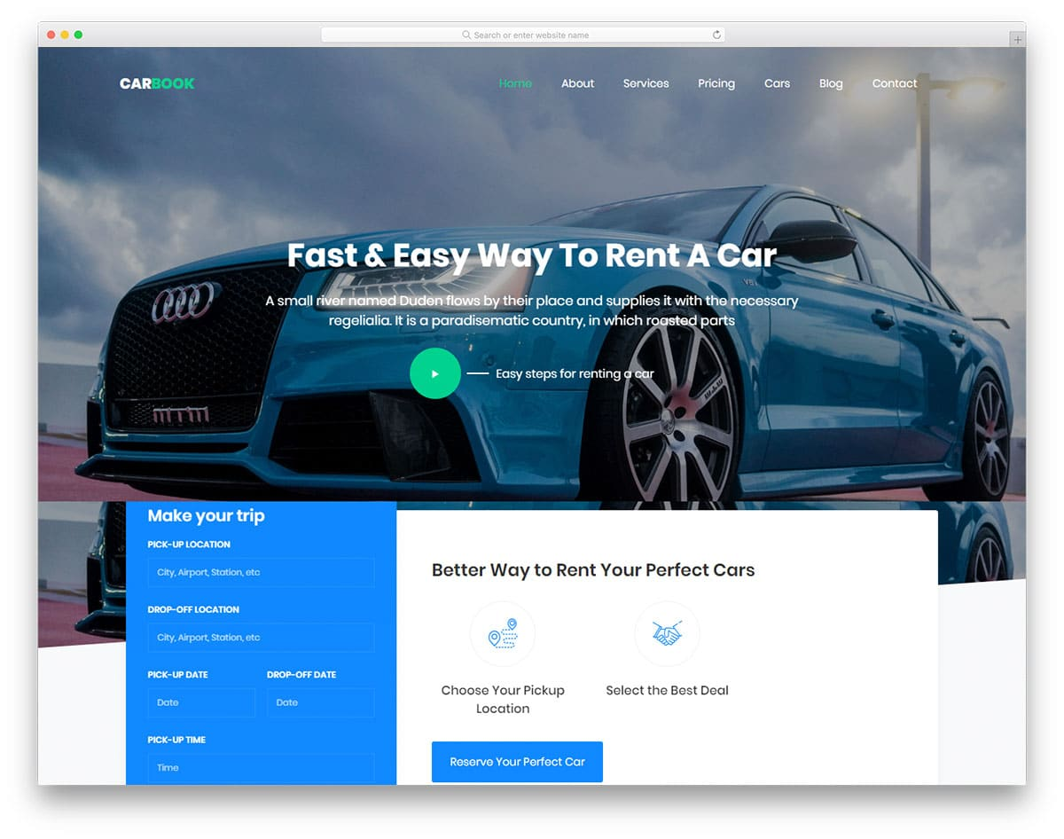 Wordpress Blog Template Carbook Car Taxi Rental Website Html Template Designhooks