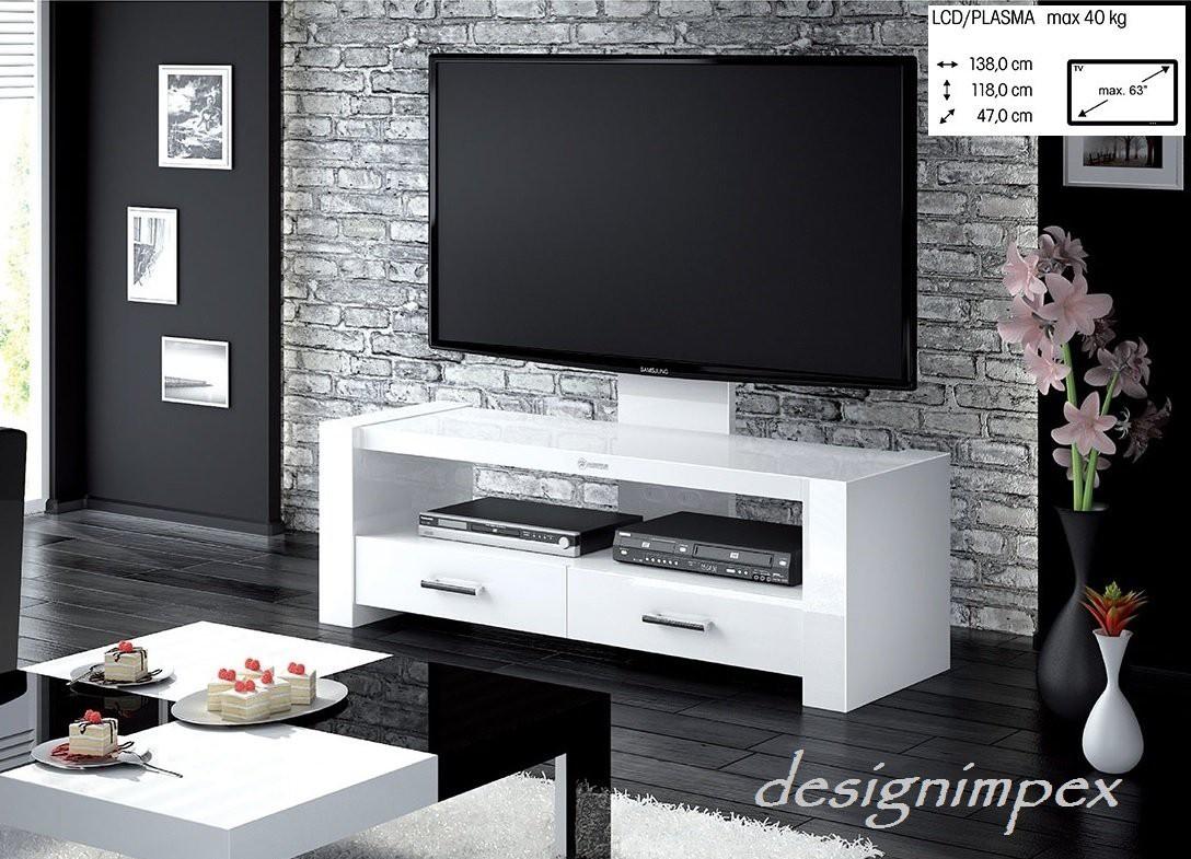fernsehtisch h 555 weiss hochglanz tv schrank tv mobel tv